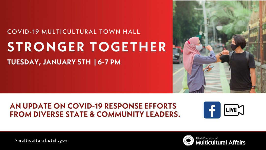 Image propoting Multicultural Town Hall. Information in copy below.
