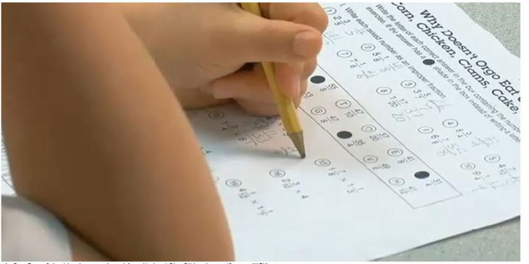 Student taking an assessment test
