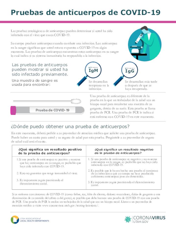 COVID-19 antibody tests flyer