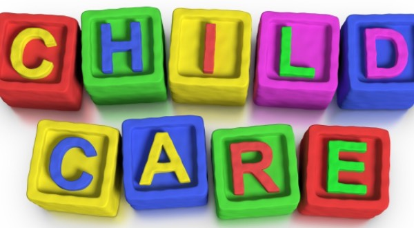 Child care spelled in blocks