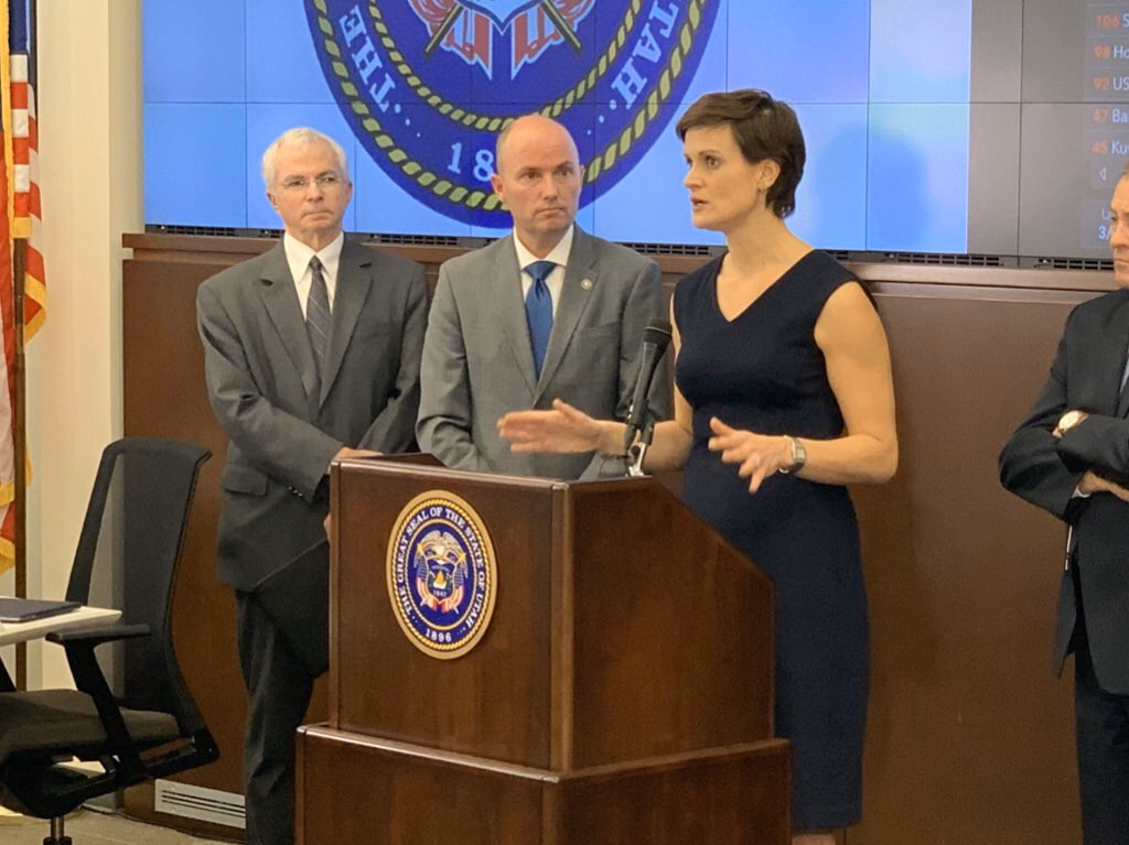 Lt. Gov. Spencer Cox attends a media briefing