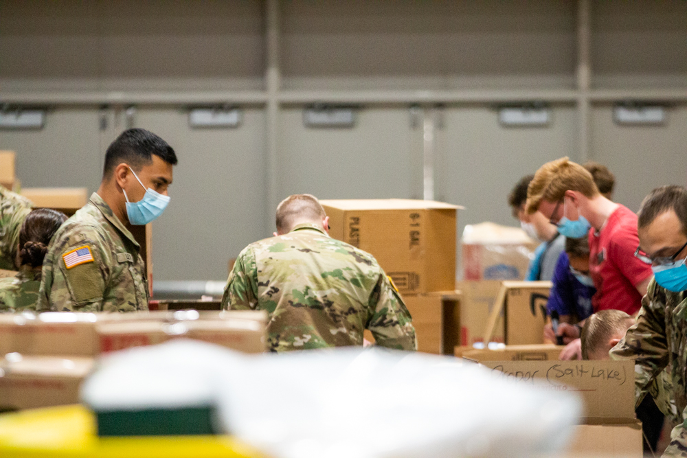 workers at the R-S-S prepare supplies to be shipped to hospitals