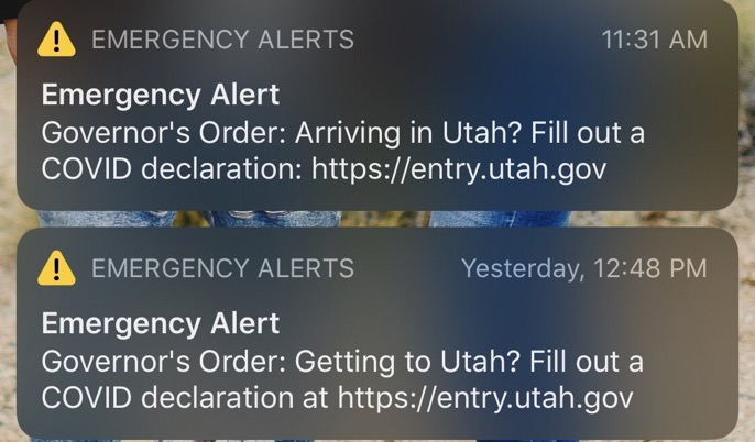 now-discontinued alerts that were sent to motorists at utah's state lines also reached residents.