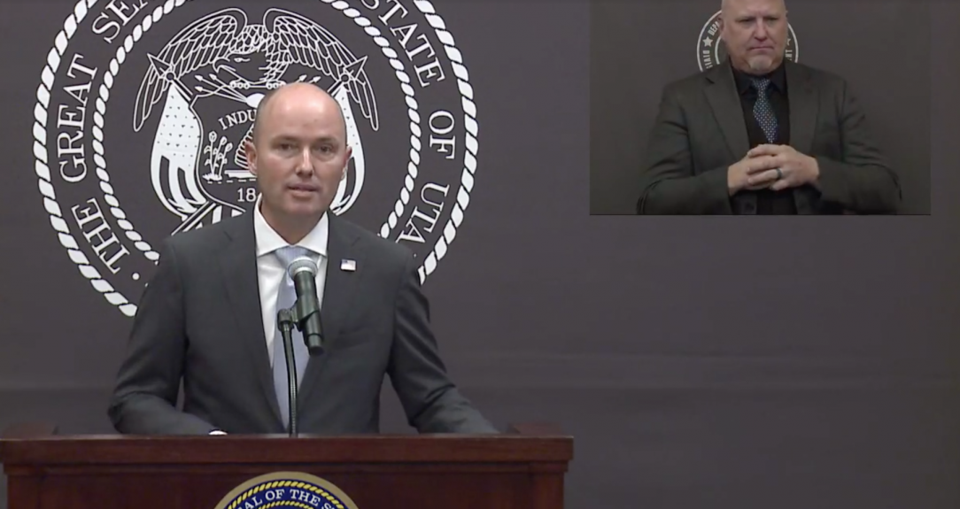 Photo from livestream of Governor Cox presenting changes to the COVID-19 vaccination plan