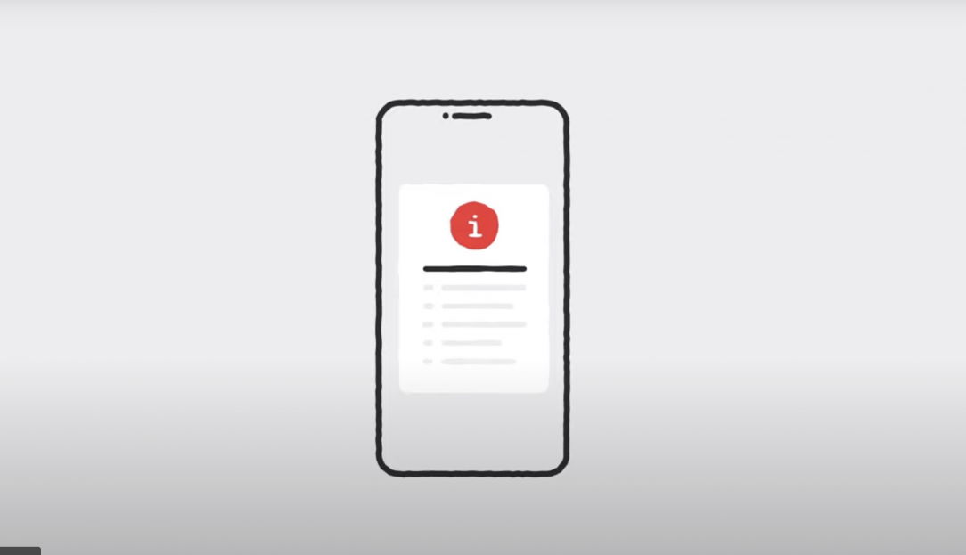 Graphic showing an alert icon on a phone