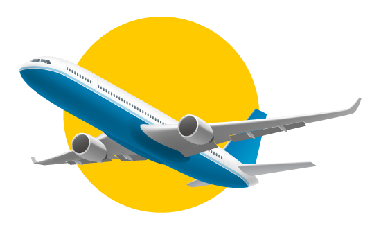 Graphic of an airplane in flight