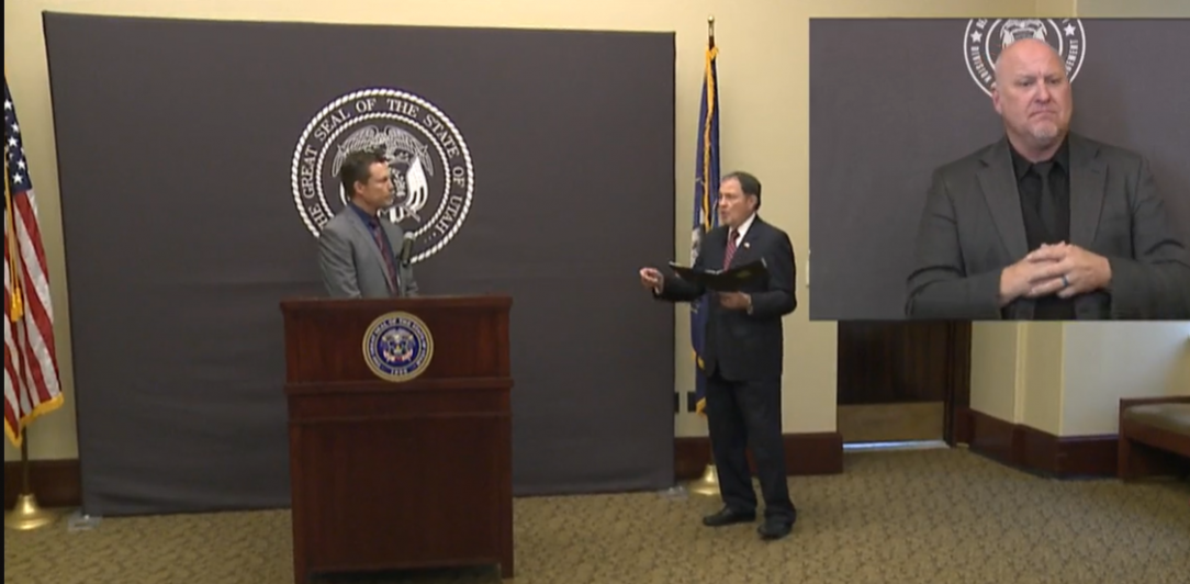 Governor herbert speaks with Nate Checketts, our testing branch director during an August 2020 press conference.