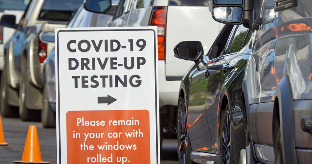 photo of a COVID-19 Drive-up Testing Location