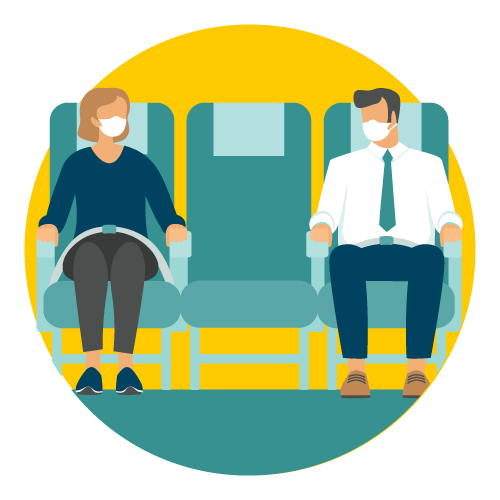 graphic of airplane passengers wearing masks and with an empty seat between them.