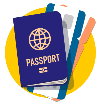 Image of a passport and boarding pass