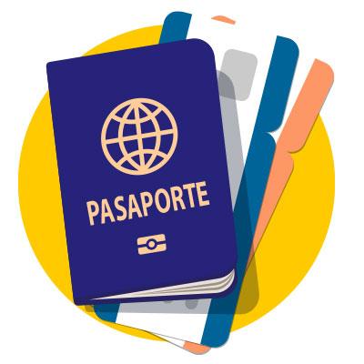 Imagen de un pasaporte y tarjeta de embarque