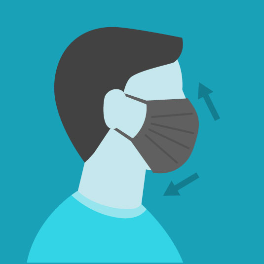 Image showing a mask on a person. The proper way to wear a face mask is to pull the top over the nose and the bottom below the chin.