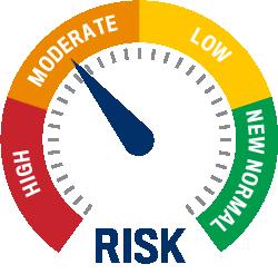 Risk Gauge Image. Utah is orange/moderate risk