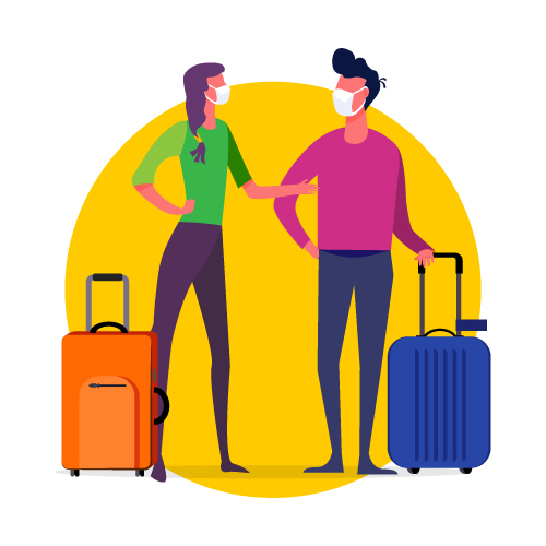 Graphic of travelers standing with their suitcases wearing masks