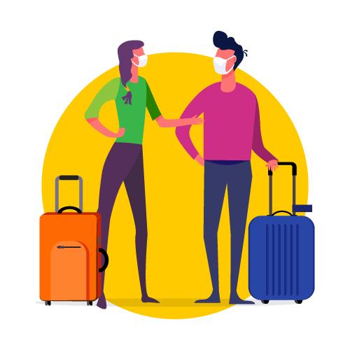 Gráfico de viajeros de pie con sus maletas llevando máscaras