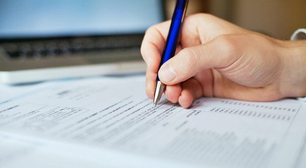 Filling out a tax form